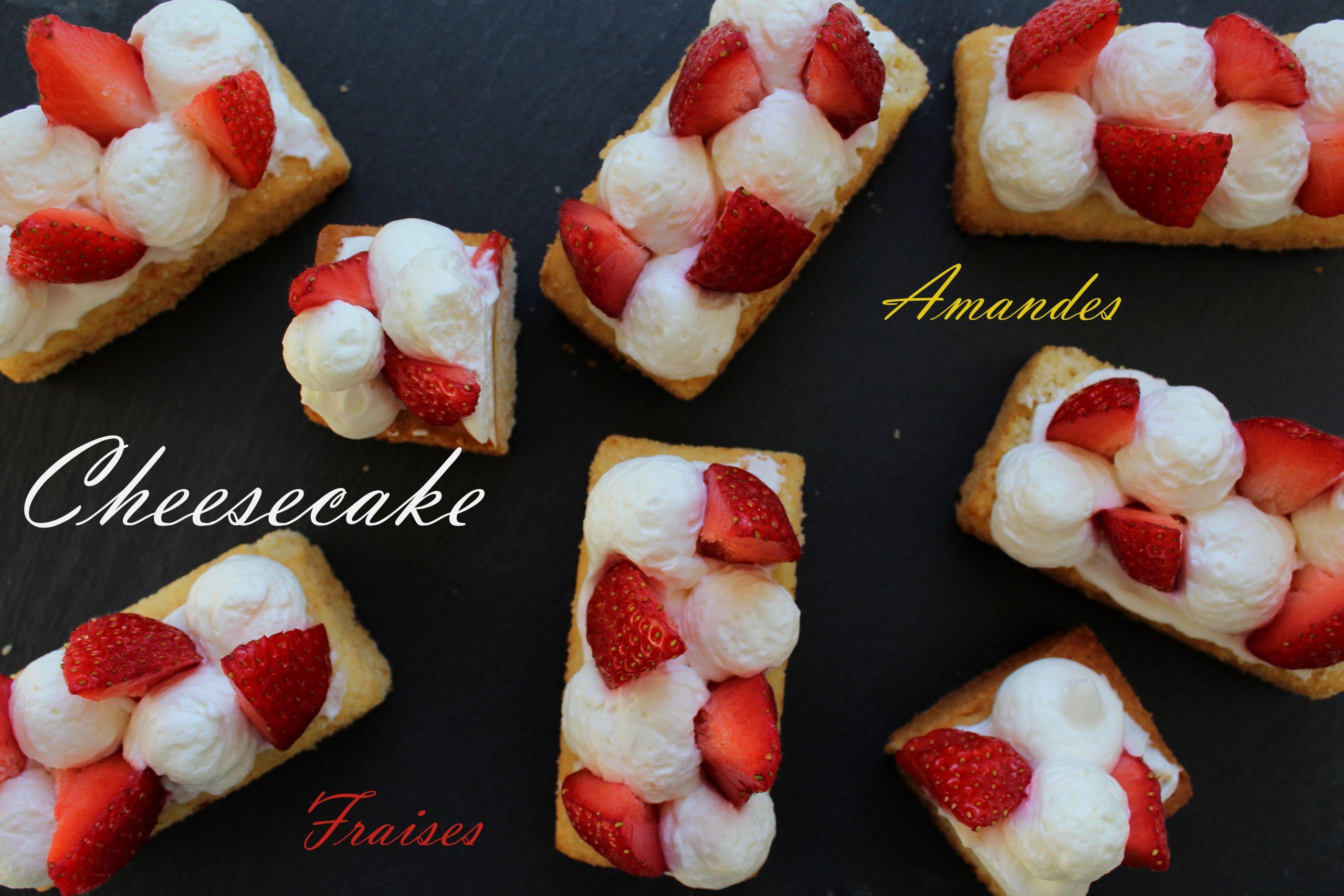 Photo de mise en avant du cheesecake revisité aux fraises, amande
