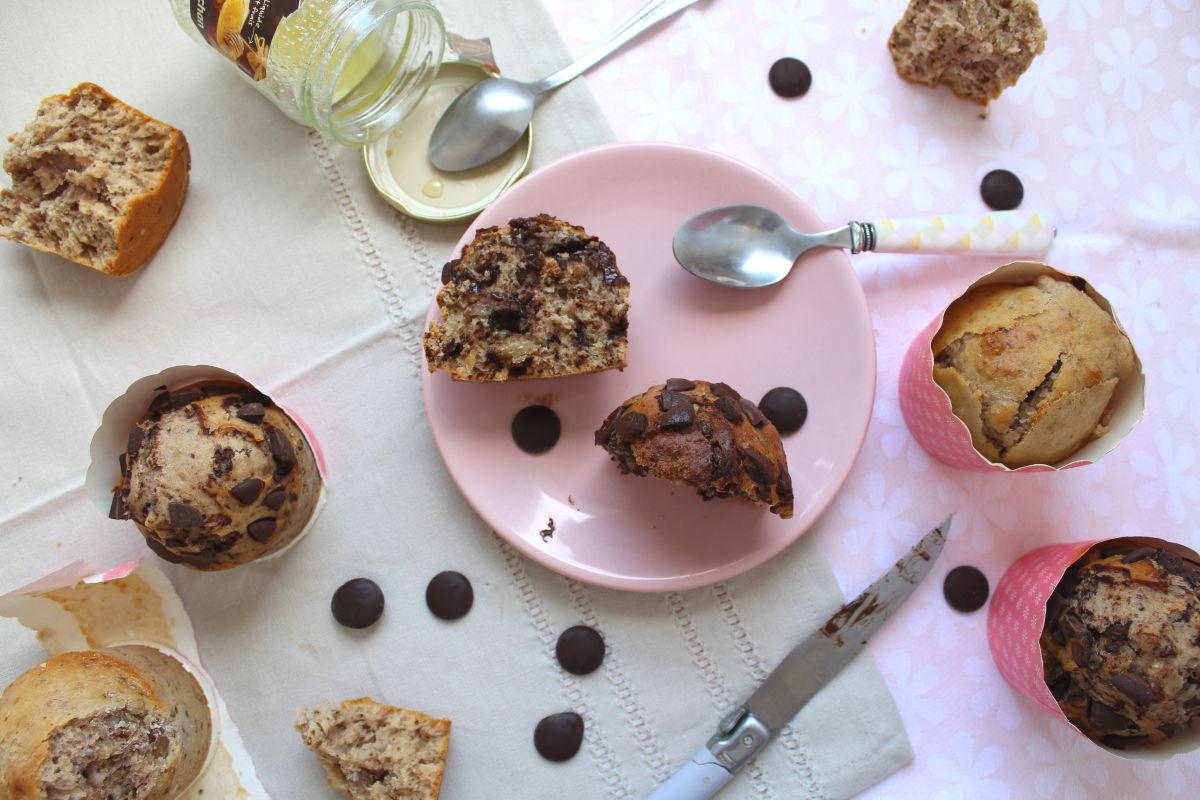 muffins au miel aux noix et au chocolat