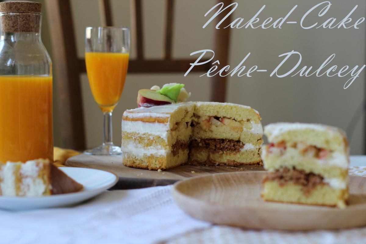 naked cake pêche et chocolat dulcey