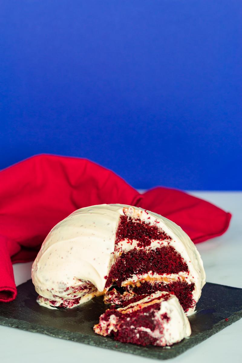 red velvet cake chocolat et beurre de cacahuète chicago bean gâteau sculpté