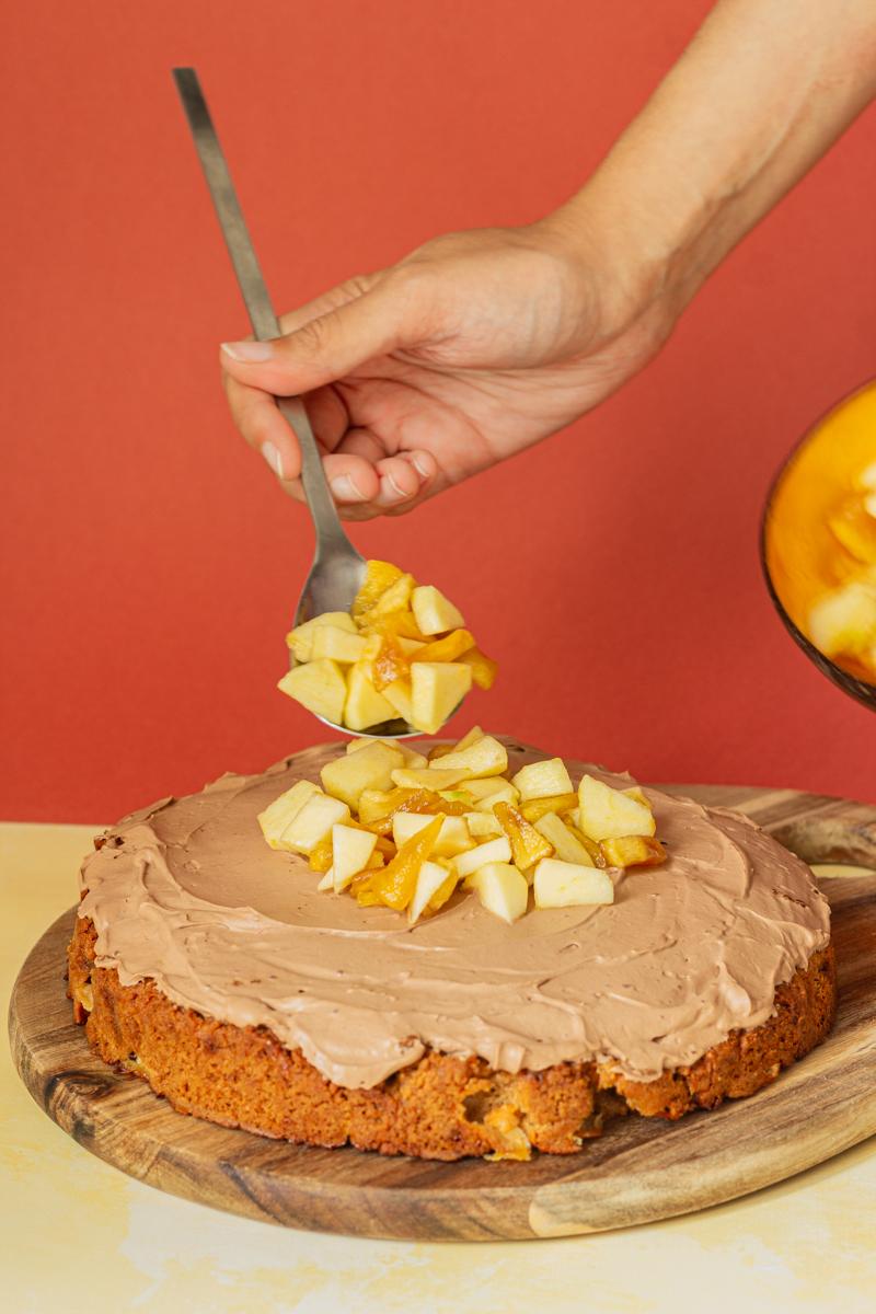 moelleux pomme beurre de cacahuètes et ganache chocolat