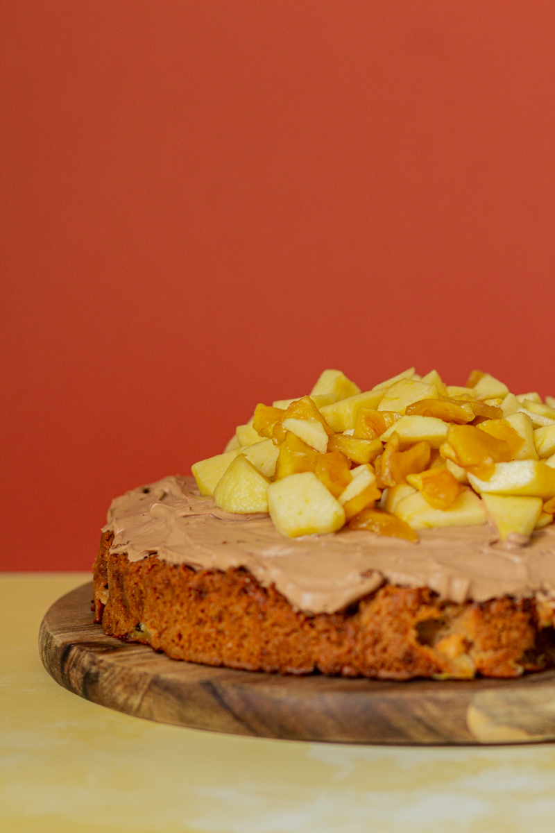 moelleux pomme beurre de cacahuete ganache chocolat