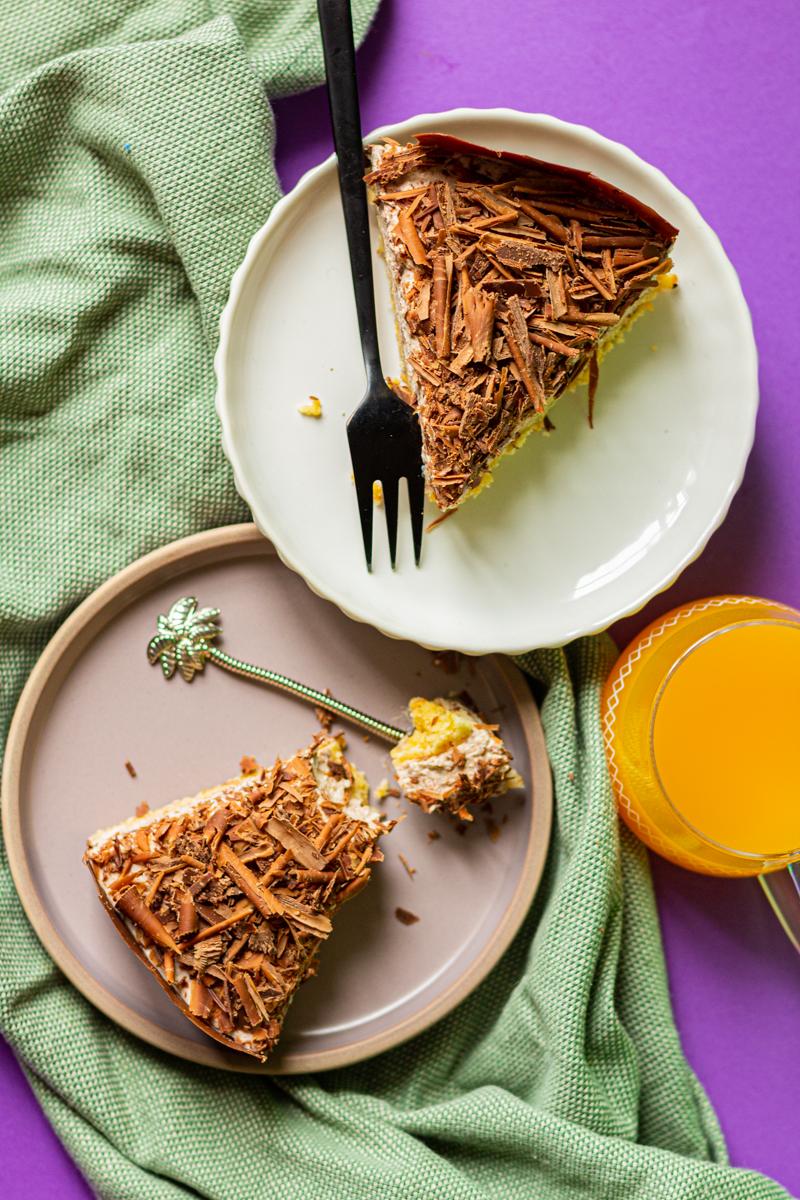 cheesecake stracciatella revisite facon feuille d'automne de lenotre